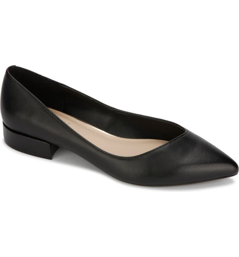KENNETH COLE NEW YORK Camelia Pointed Toe Flat, Main, color, BLACK LEATHER