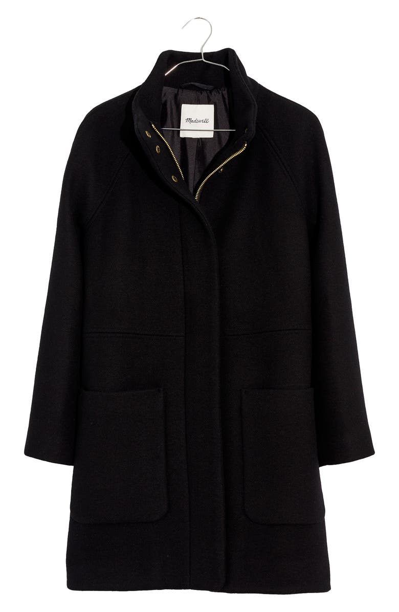 MADEWELL Estate Cocoon Insuluxe Fabric Coat, Main, color, TRUE BLACK