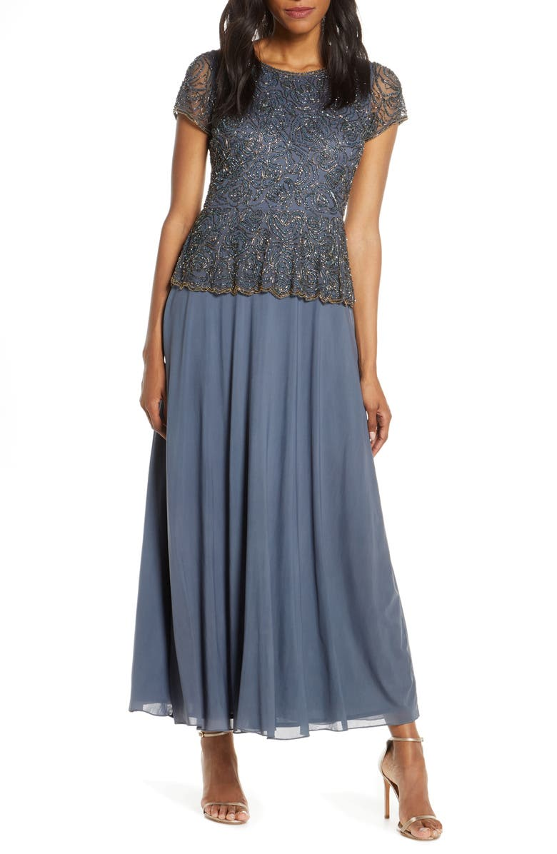 PISARRO NIGHTS Beaded Mock Two-Piece Gown, Main, color, 020