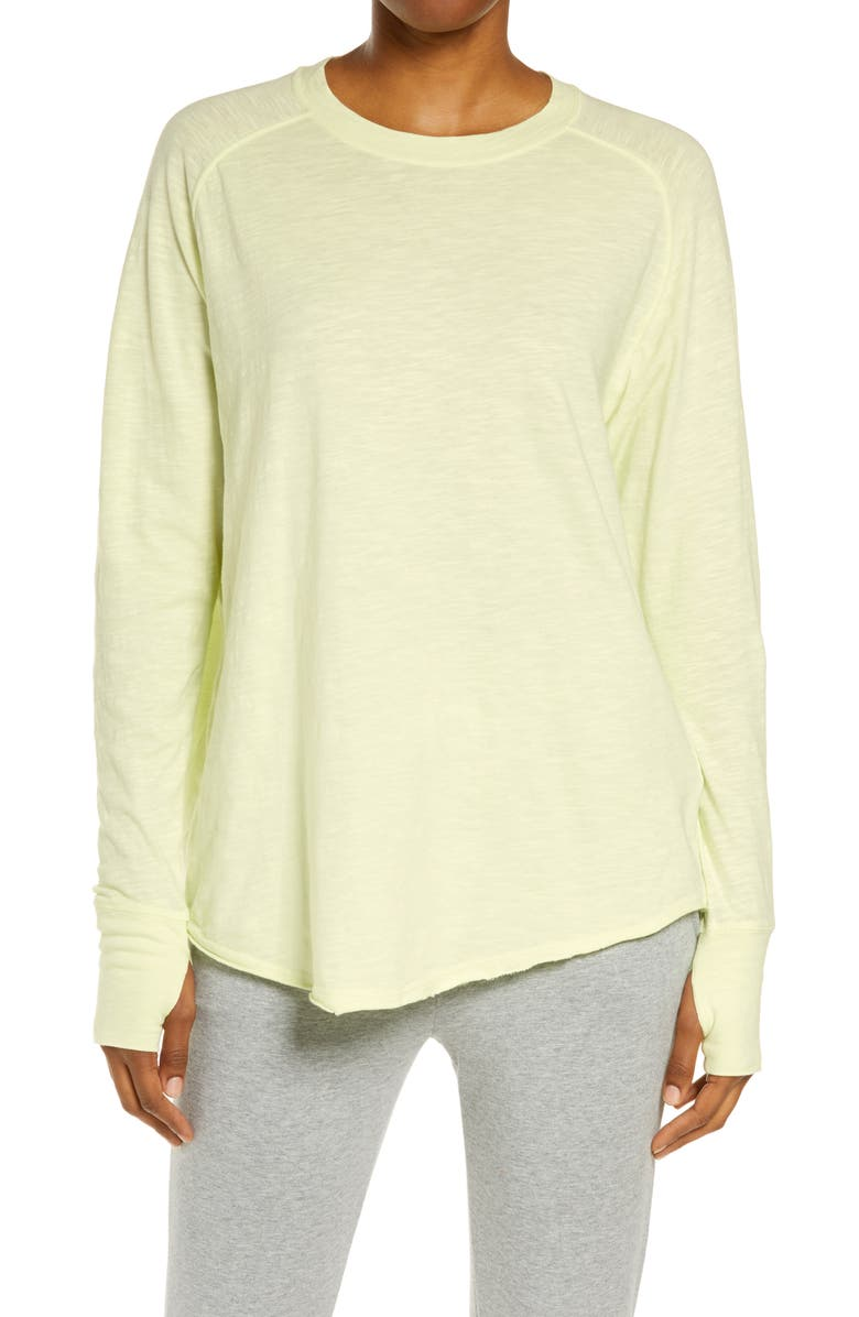ZELLA Relaxed Long Sleeve T-Shirt, Main, color, GREEN BUTTERFLY