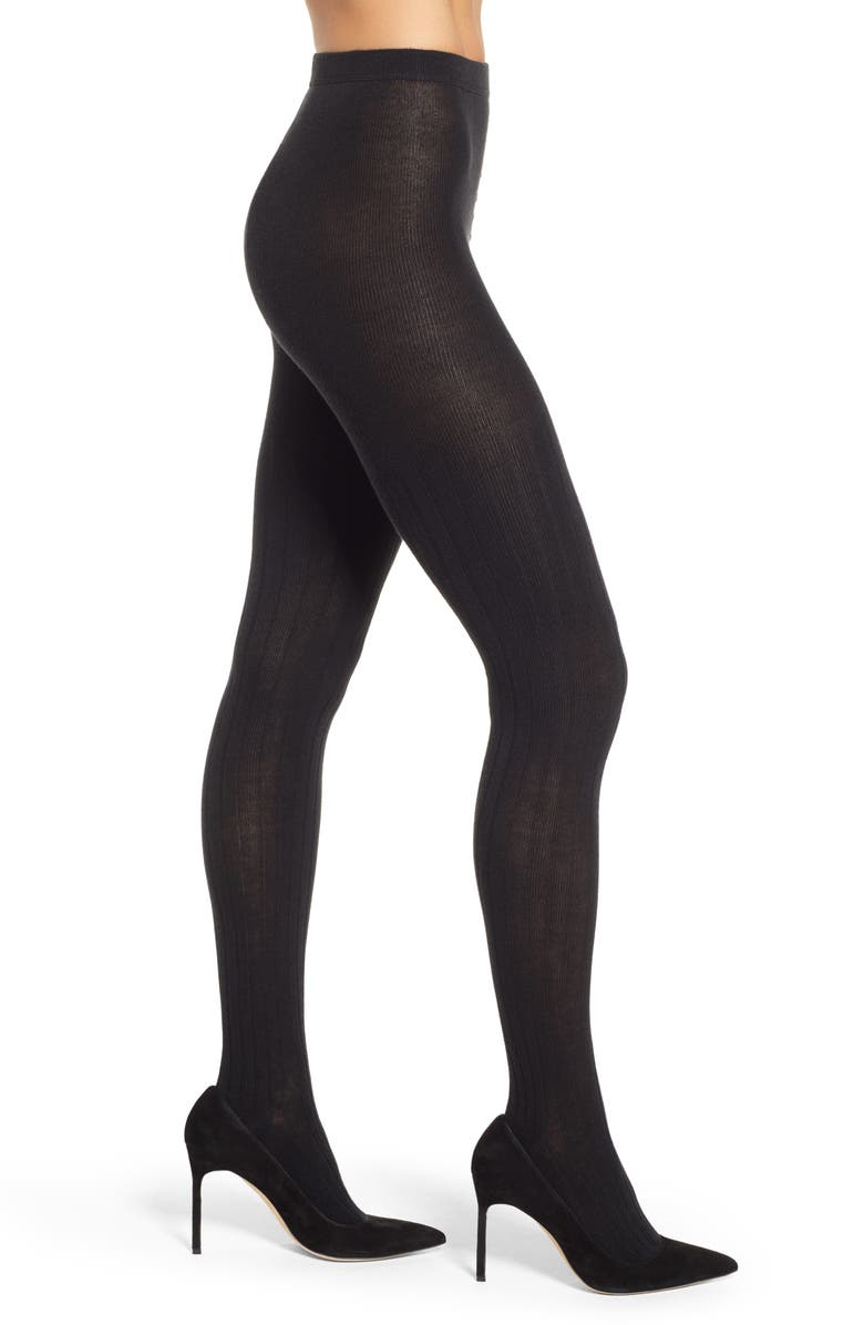 NATORI Ribbed Sweater Tights, Main, color, BLACK