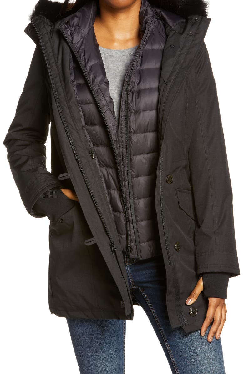 UGG<SUP>®</SUP> Adirondack 3 in 1 Waterproof Down Parka with Removable Genuine Shearling Trim, Main, color, Black