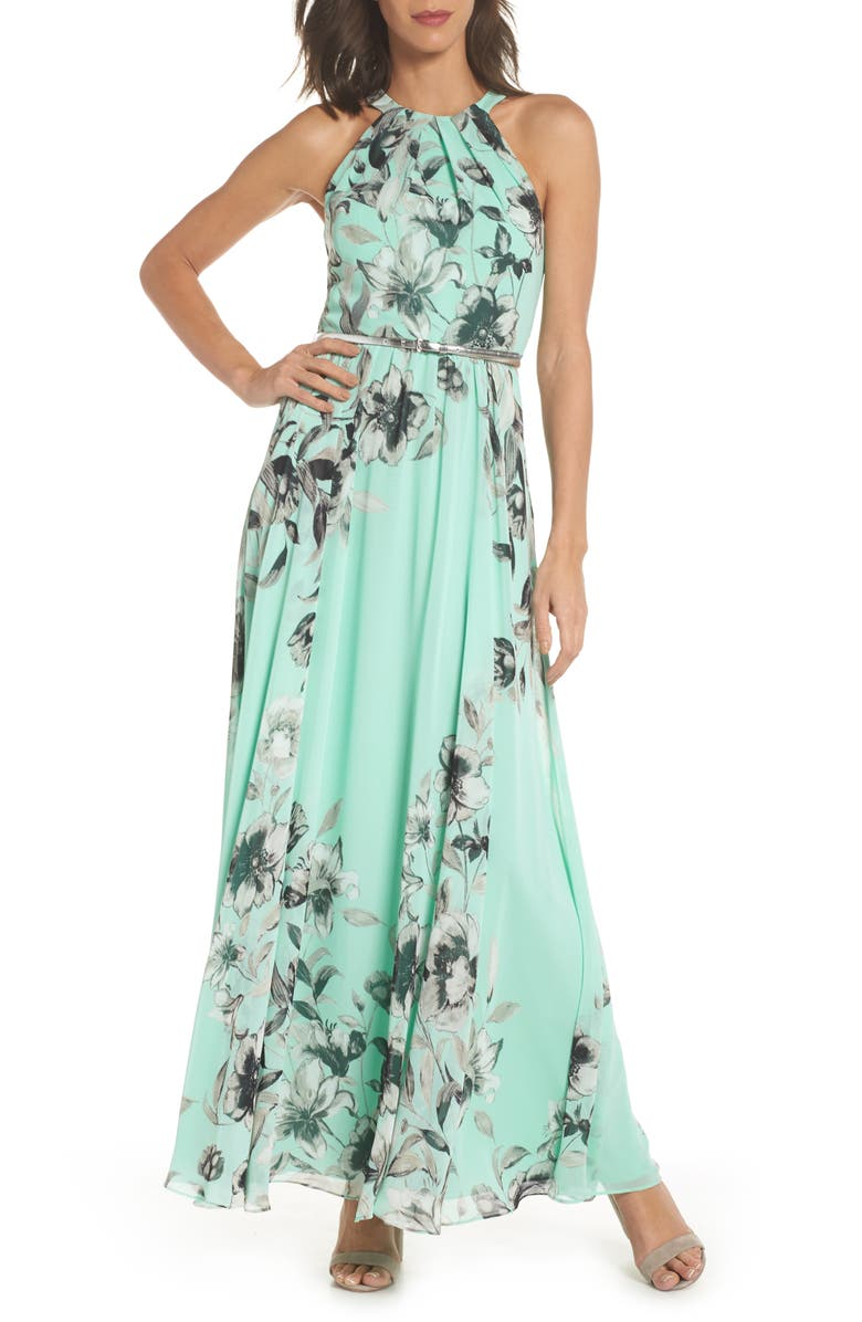 ELIZA J Belted Chiffon Halter Maxi Dress, Main, color, 338