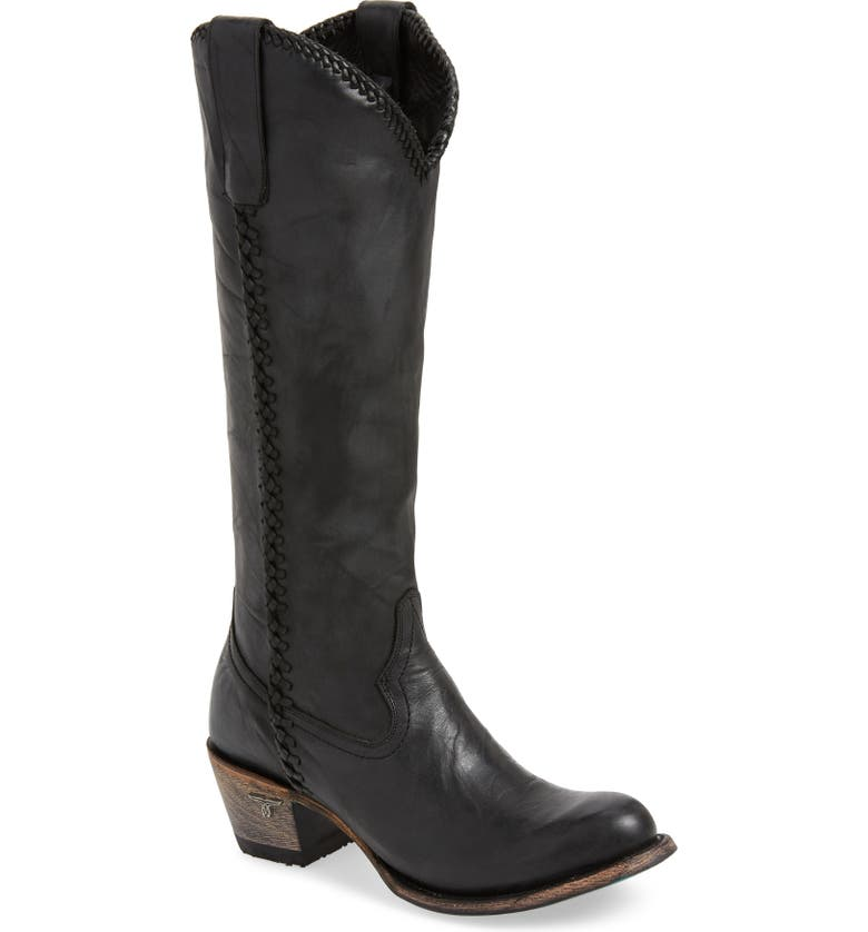 LANE BOOTS Plain Jane Knee High Western Boot, Main, color, BLACK LEATHER