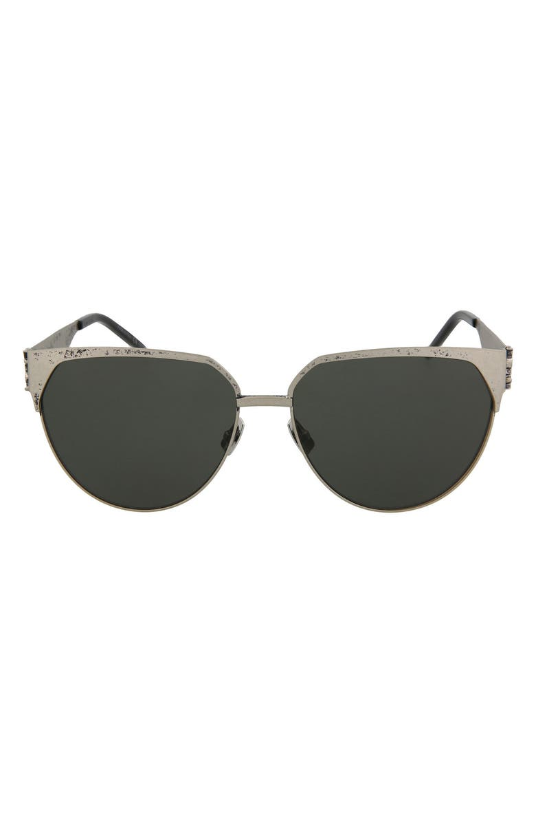 SAINT LAURENT 59mm Round/Oval Sunglasses, Main, color, SILVER SILVER GREY/GRY
