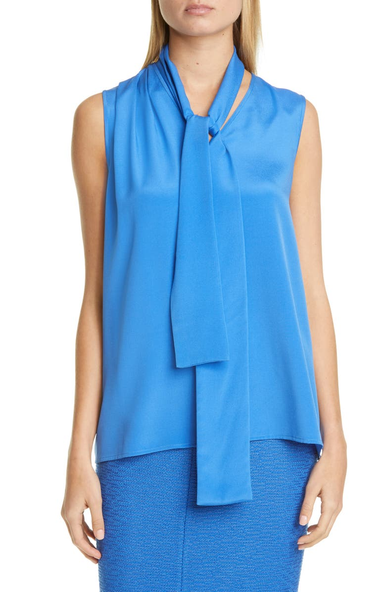 ST. JOHN COLLECTION Stretch Silk Crêpe de Chine Shell with Removable Tie, Main, color, 420