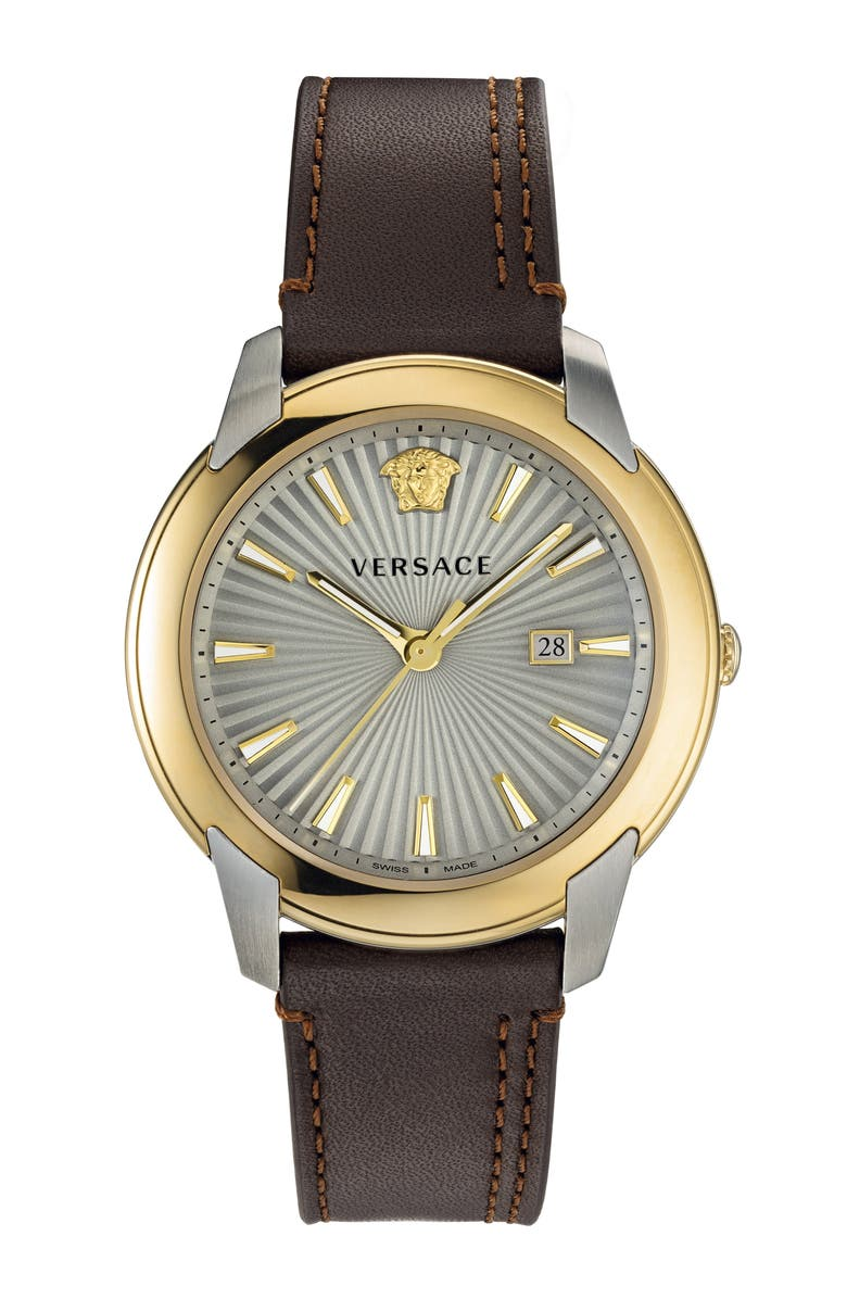 VERSACE Urban Leather Strap Watch, 42mm, Main, color, 200