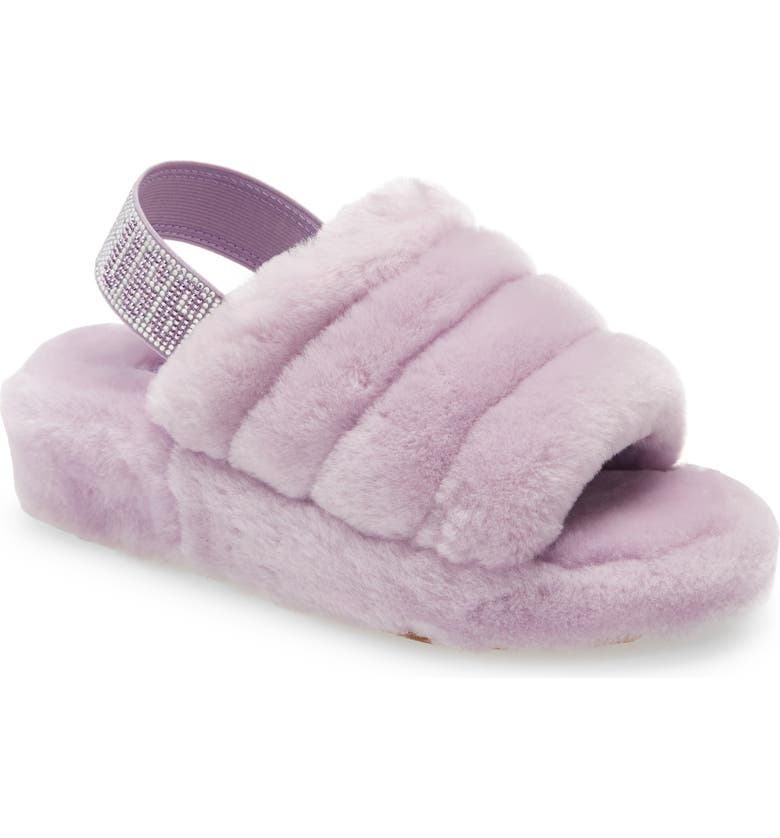 UGG<SUP>®</SUP> Fluff Yeah Genuine Shearling Slide Sandal, Main, color, LILAC FROST