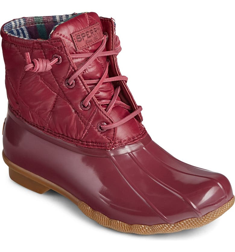 SPERRY Saltwater Nylon Quilted Duck Boot, Main, color, CORDOVAN