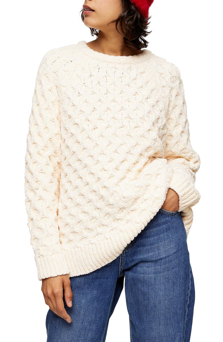 TOPSHOP Honeycomb Chenille Sweater, Main, color, 101