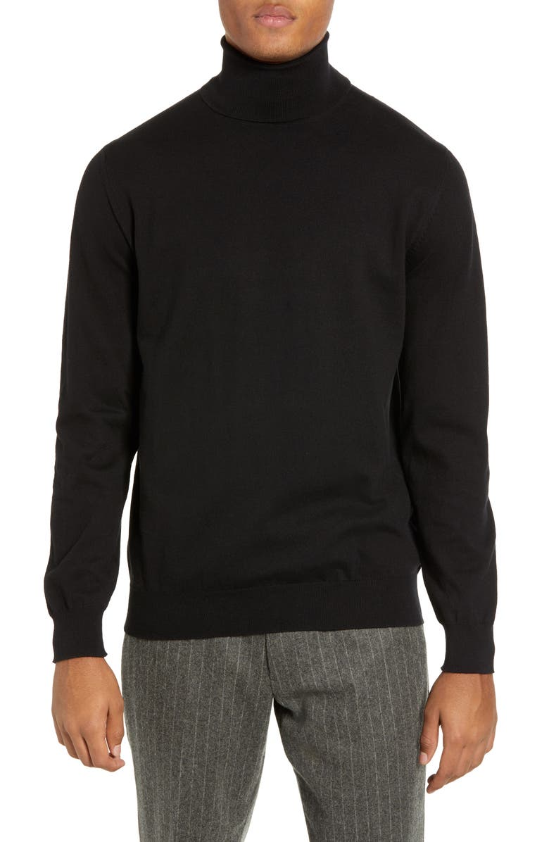FRENCH CONNECTION Regular Fit Stretch Cotton Turtleneck, Main, color, Black