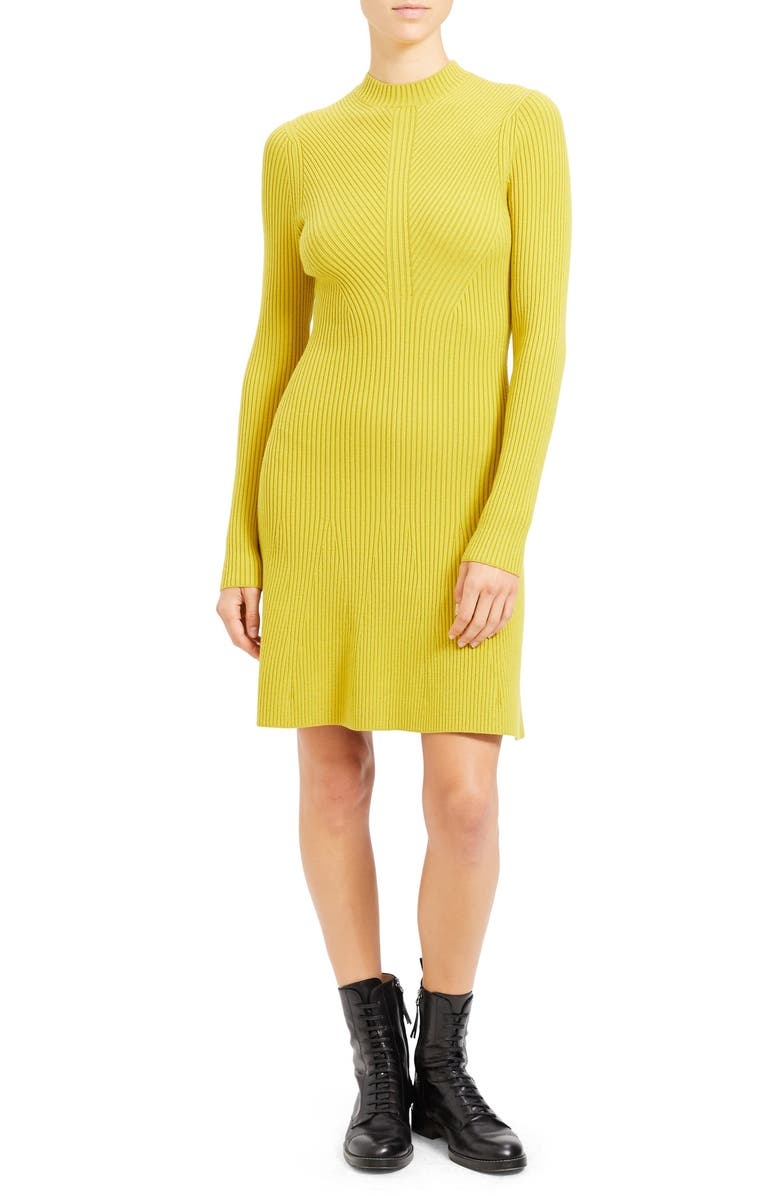 THEORY Regal Moving Ribbed Long Sleeve Merino Wool Blend Sweater Dress, Main, color, 796