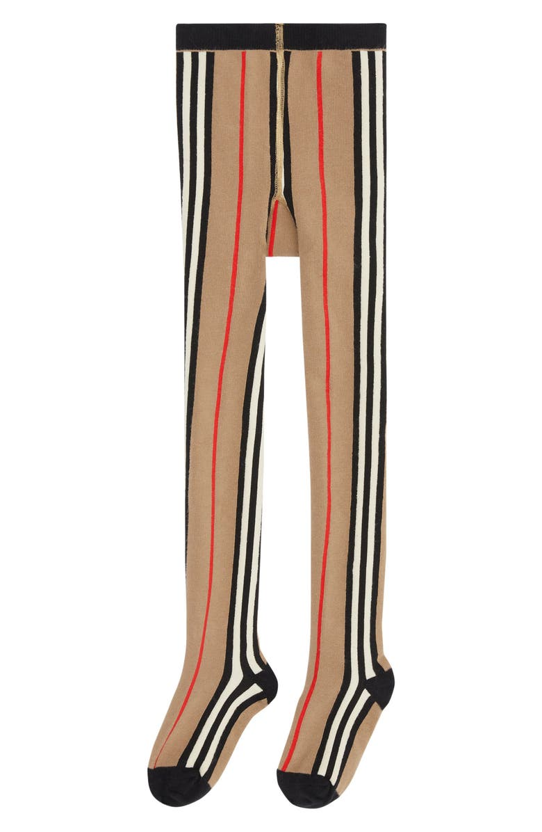 BURBERRY Kids' Icon Stripe Stretch Cotton Blend Tights, Main, color, ARCHIVE BEIGE