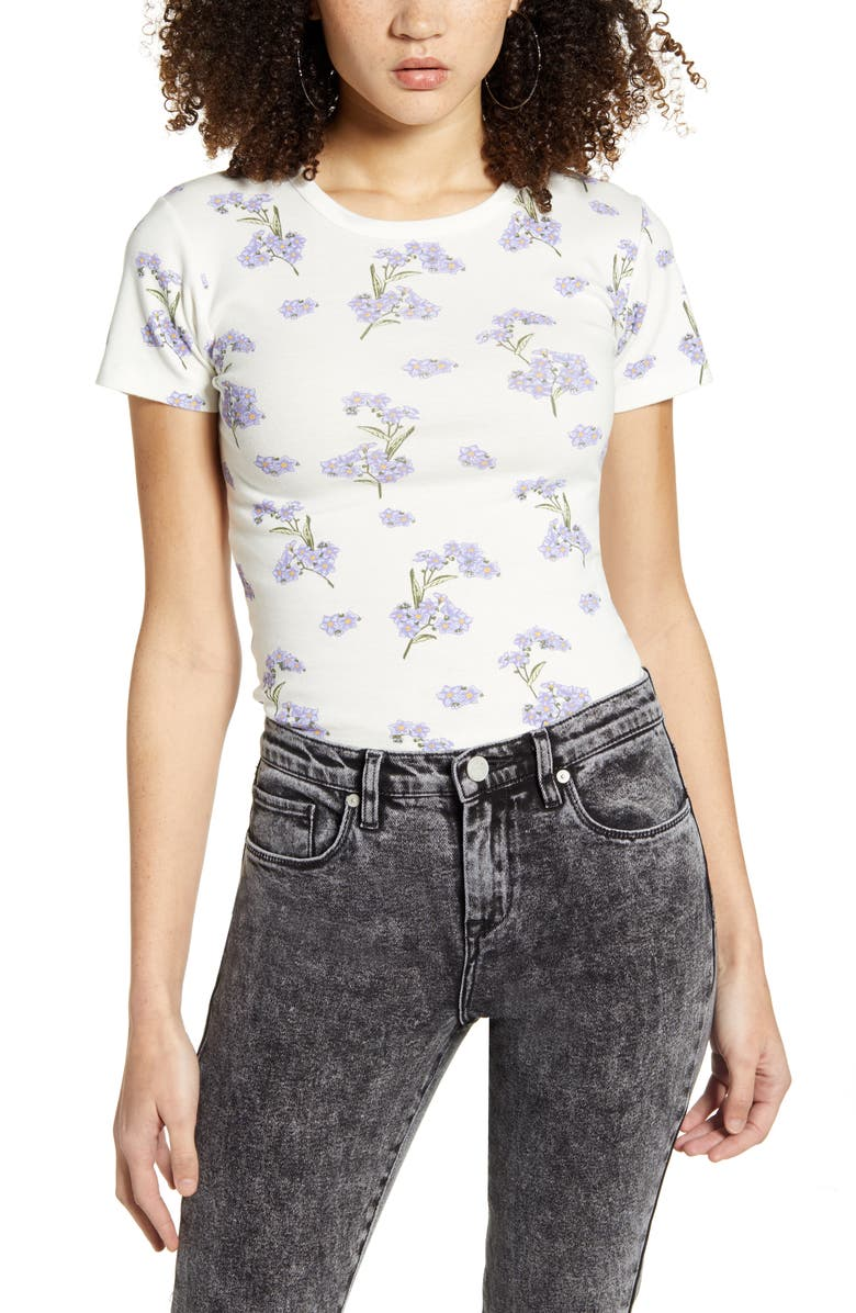 BDG URBAN OUTFITTERS Floral Tee, Main, color, 100