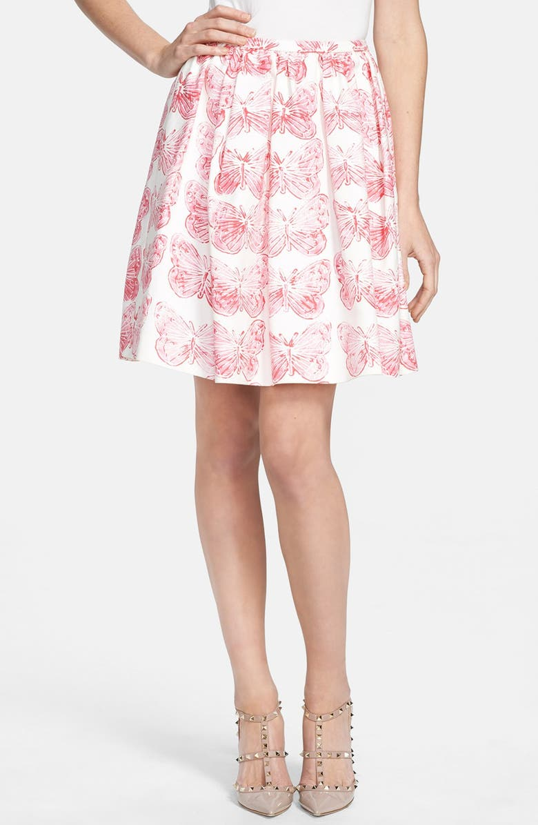 RED VALENTINO Butterfly Print Pleated Skirt, Main, color, 583
