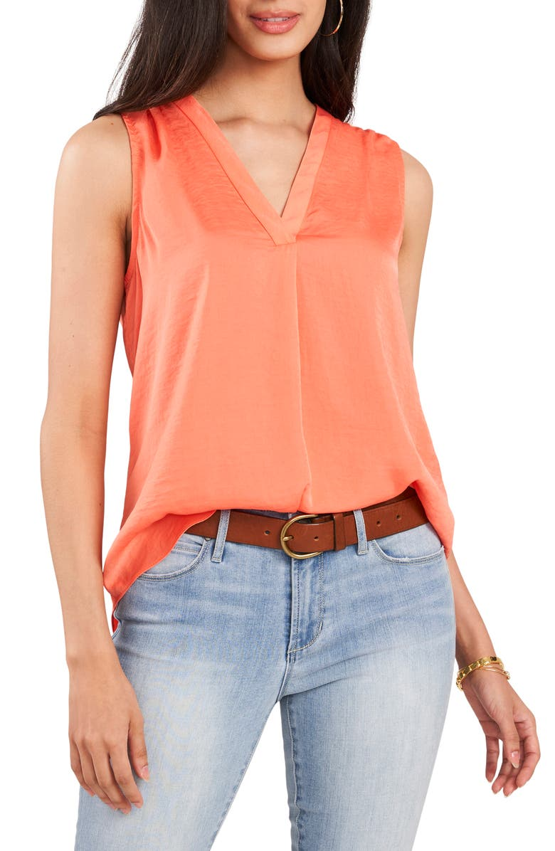 VINCE CAMUTO Rumpled Satin Blouse, Main, color, BRIGHT CORAL ORANGE
