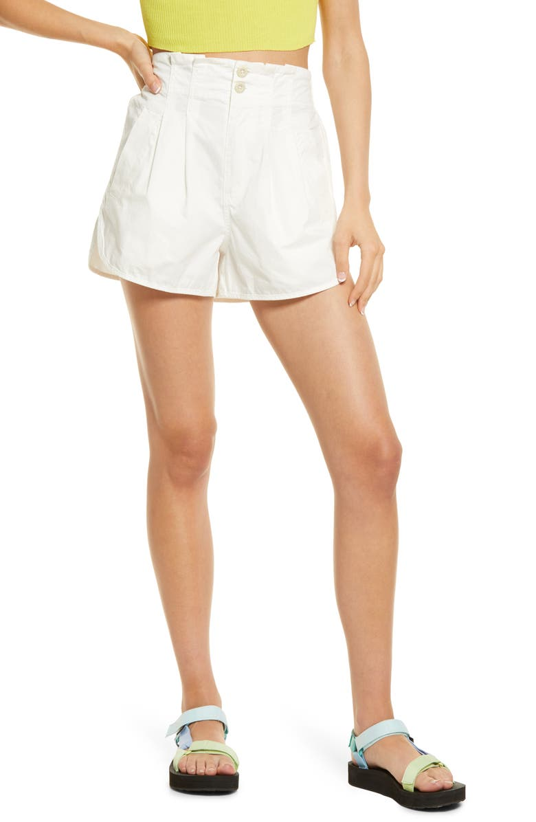FREE PEOPLE Pleated Shorty Pull-On Shorts, Main, color, JASMINE