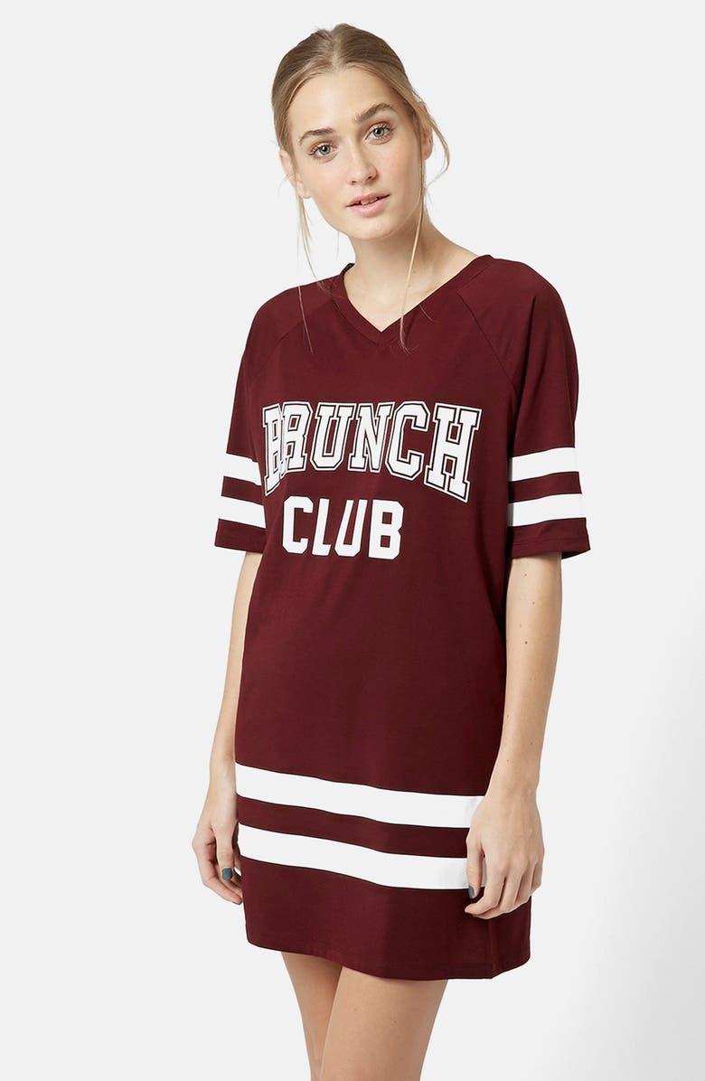 TOPSHOP Brunch Club Long Tee, Main, color, RED