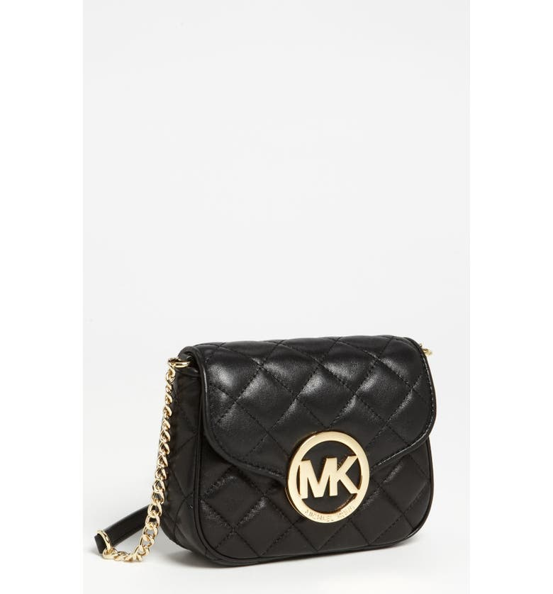 MICHAEL MICHAEL KORS 'Fulton - Small' Quilted Leather Crossbody Bag, Main, color, 001