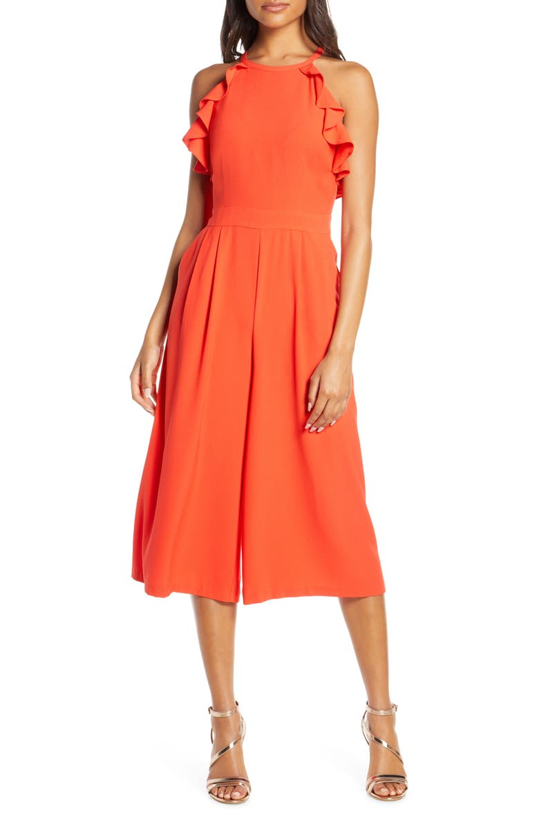 VINCE CAMUTO Ruffle Halter Jumpsuit, Main, color, POPPY