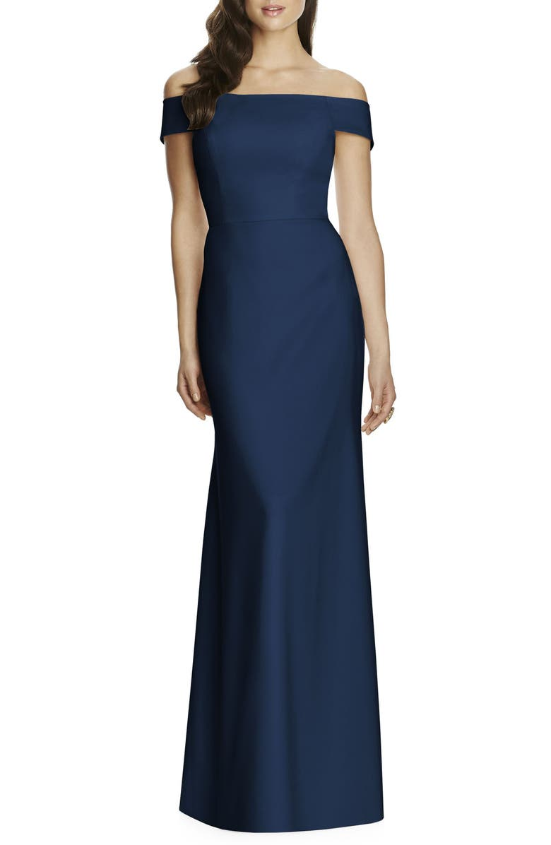 DESSY COLLECTION Off the Shoulder Column Gown, Main, color, 405
