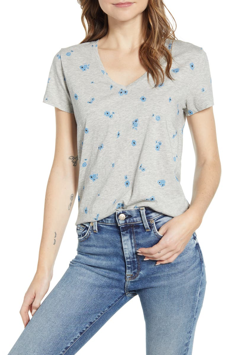 LUCKY BRAND Floral Print T-Shirt, Main, color, 030