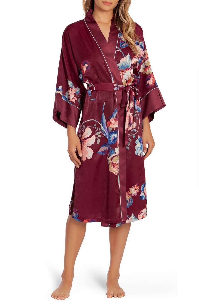 IN BLOOM BY JONQUIL Lenox Floral Satin Robe, Main, color, 930