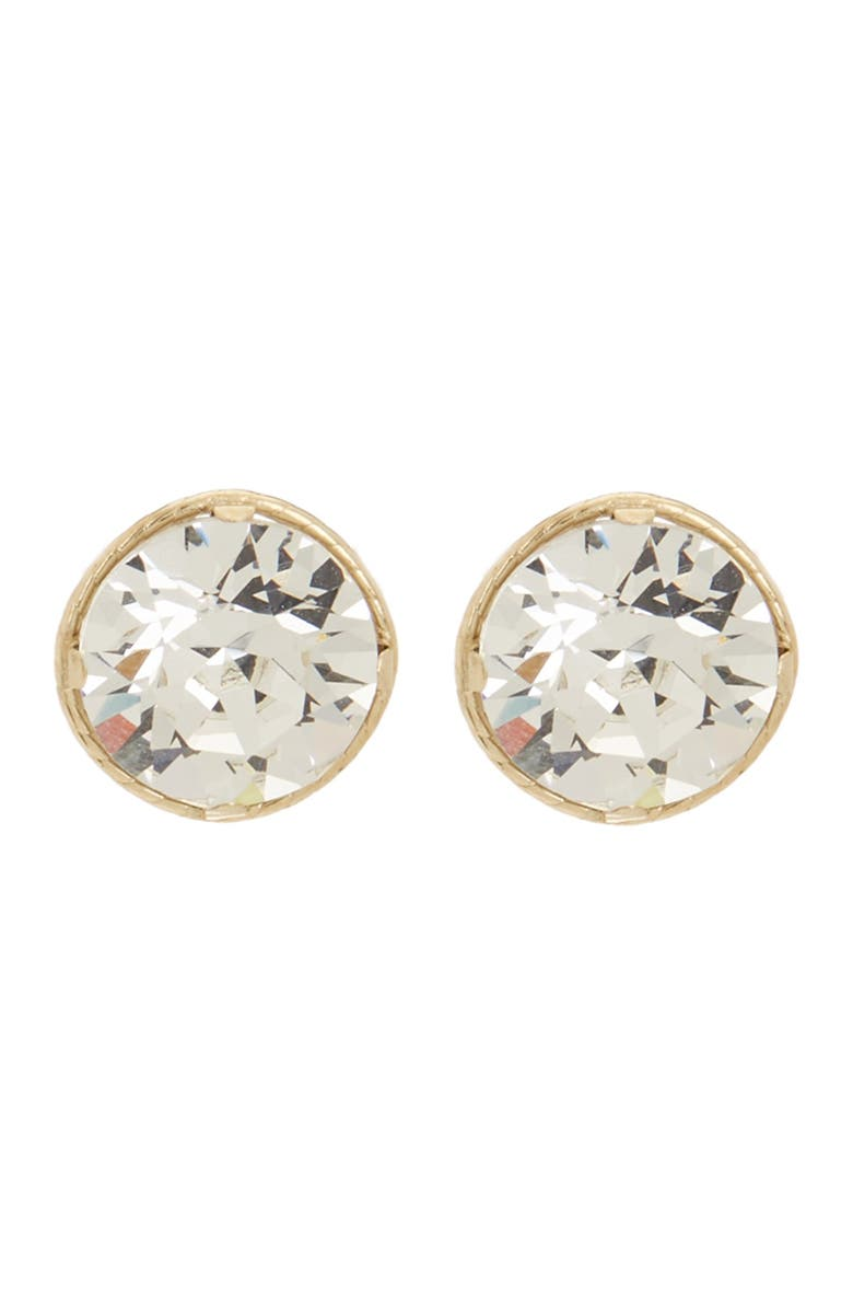 CANDELA JEWELRY 10K Yellow Gold 8mm Crystal Stud Earrings, Main, color, CLEAR