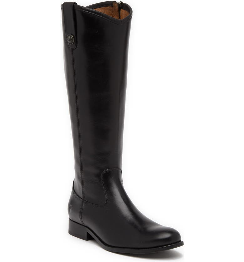 FRYE Melissa Button Inside Zip Leather Boot, Main, color, BLACK