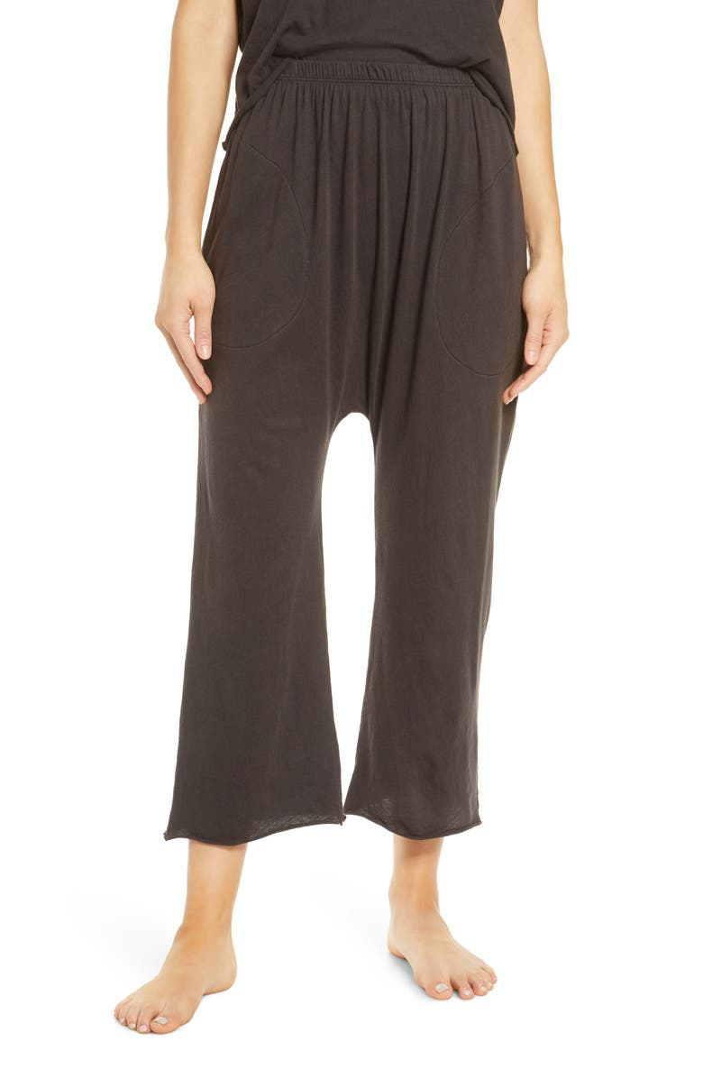 THE GREAT. The Lounge Cotton Crop Pants, Main, color, 001