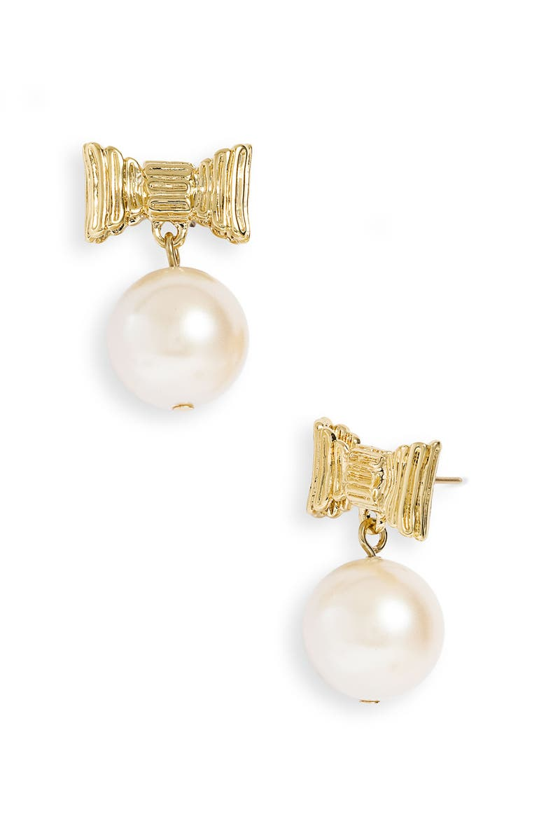 KATE SPADE NEW YORK 'all wrapped up' glass pearl earrings, Main, color, 900