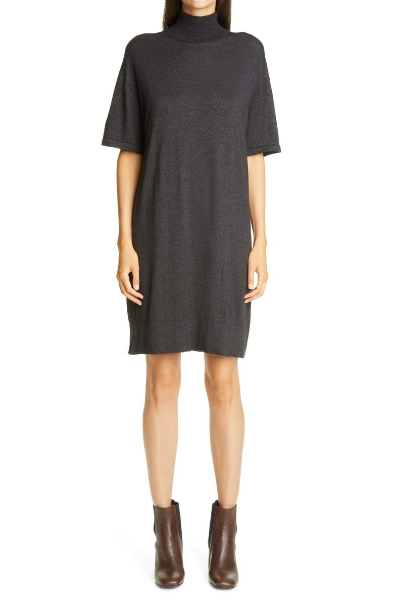 BRUNELLO CUCINELLI Metallic Cashmere Blend Shift Sweater Dress, Main, color, C2803 BLACK STONE