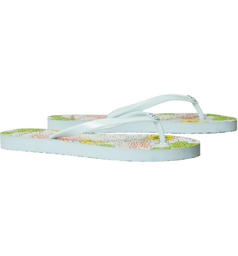 TORY BURCH Thin Flip Flop, Main, color, BLUE EYES / WALLPAPER FLORAL