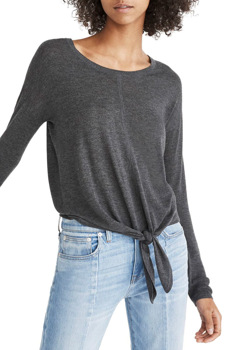 MADEWELL Modern Tie Front Sweater, Main, color, 020