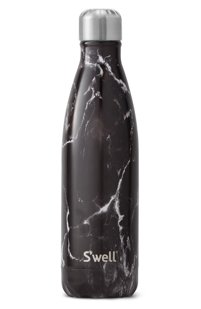 S'WELL Black Marble 17-Ounce Insulated Stainless Steel Water Bottle, Main, color, 004