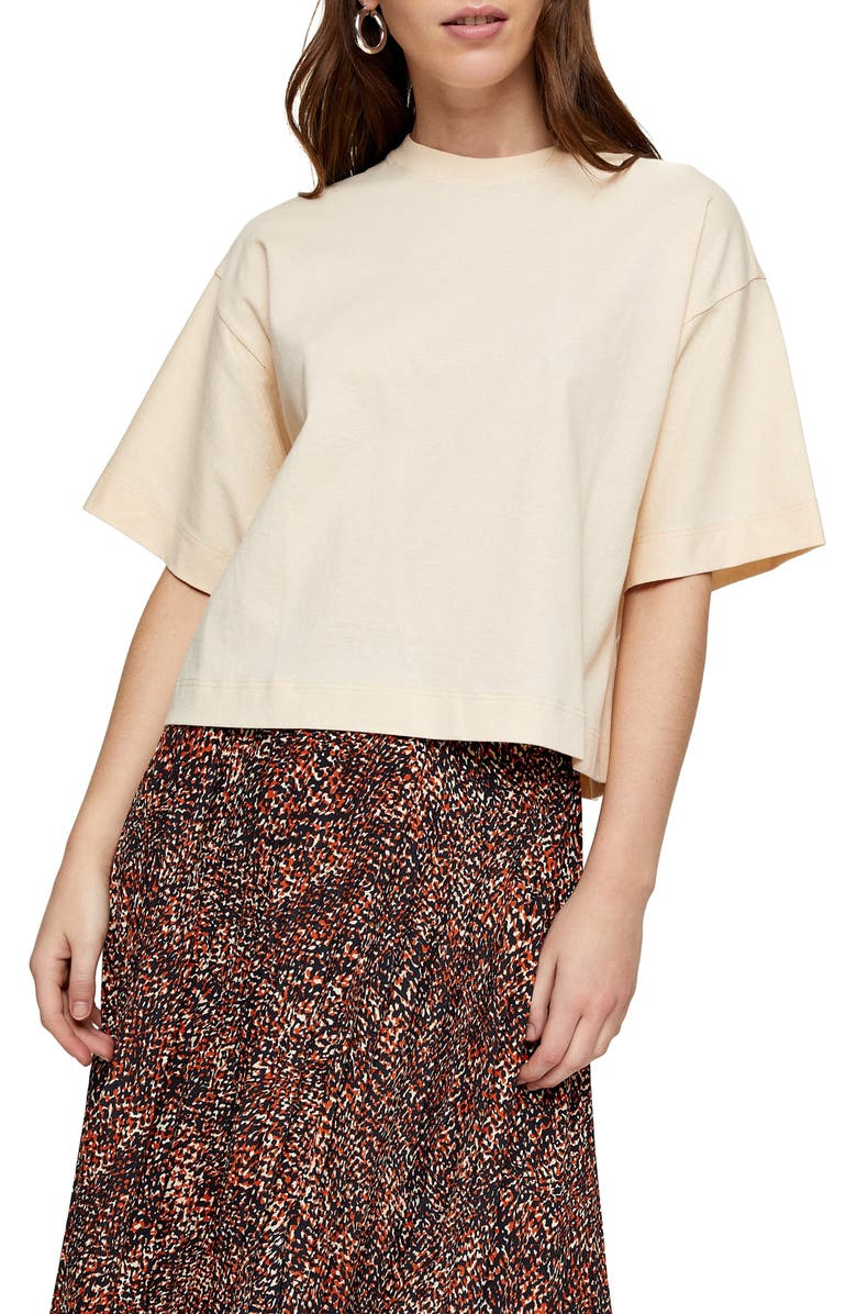 TOPSHOP Boxy T-Shirt, Main, color, CREAM