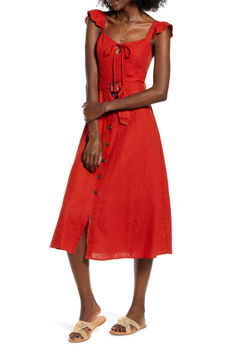 BAND OF GYPSIES Honeysuckle Linen Blend Midi Dress, Main, color, 600