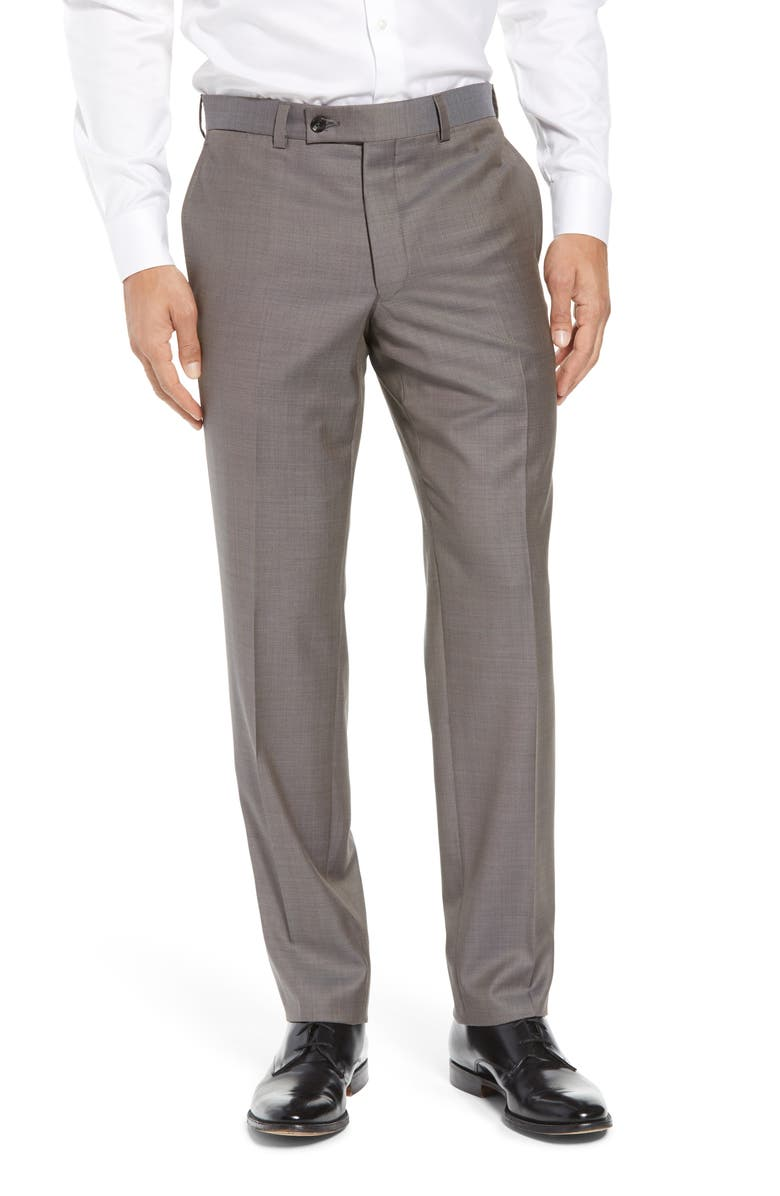 TED BAKER LONDON Jefferson Flat Front Wool Dress Pants, Main, color, TAUPE