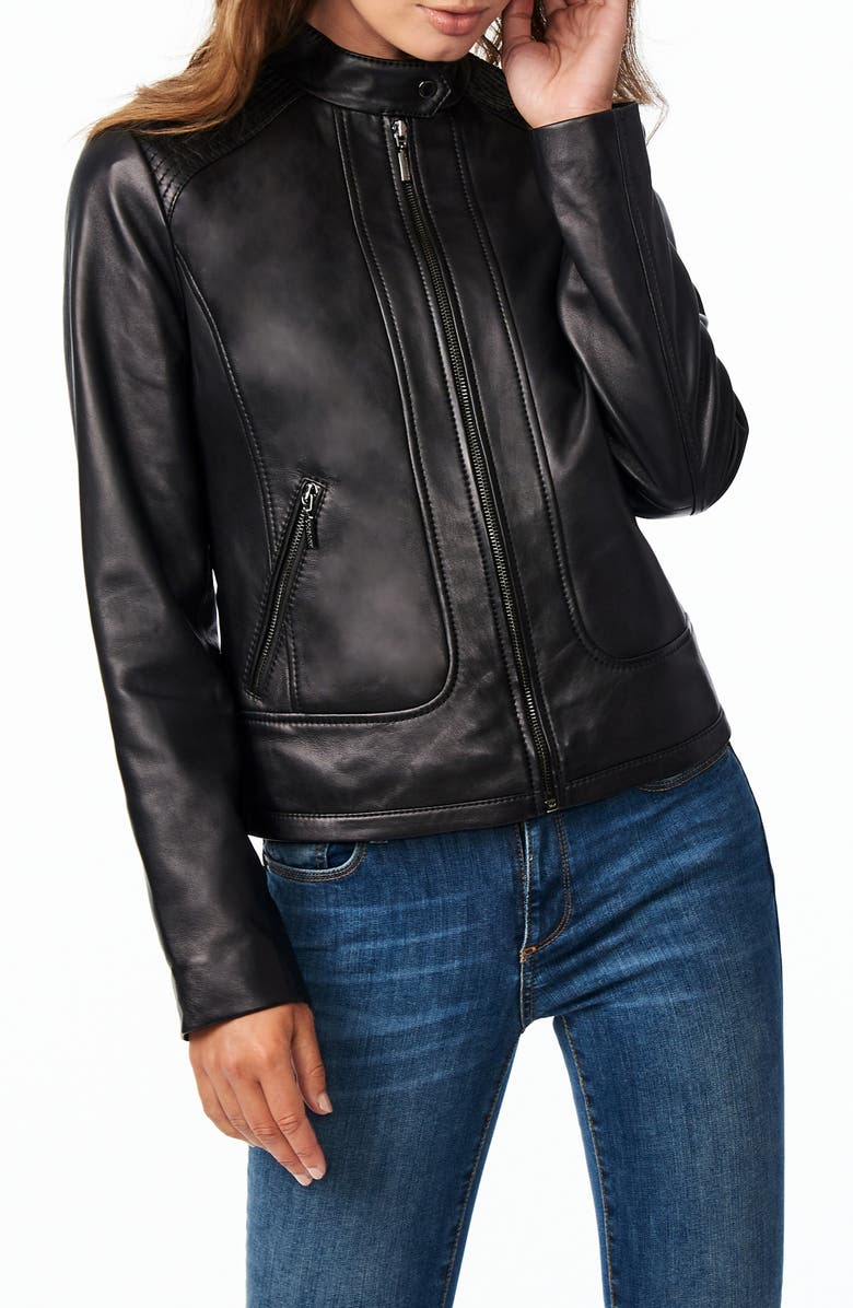 BERNARDO Stitch Detail Sheepskin Leather Racer Jacket, Main, color, BLACK