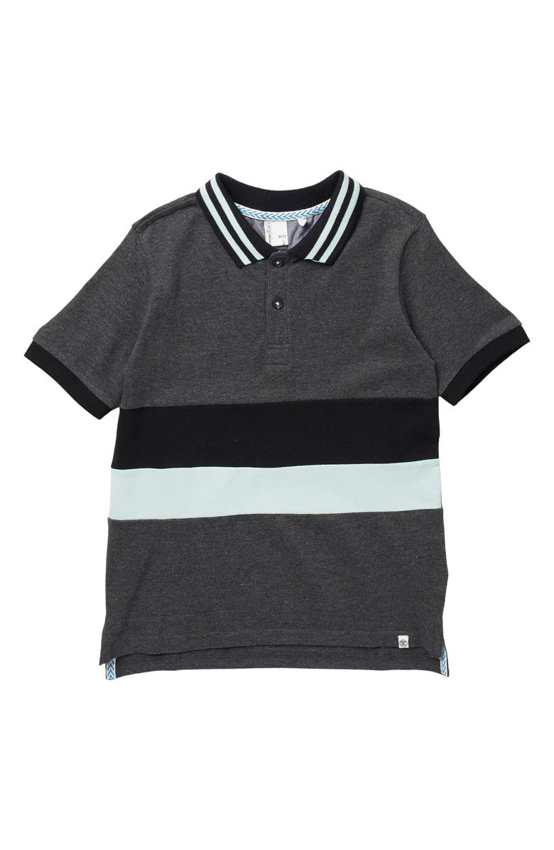 SOVEREIGN CODE Byron Stripe Polo, Main, color, CHARCOAL HEATHER
