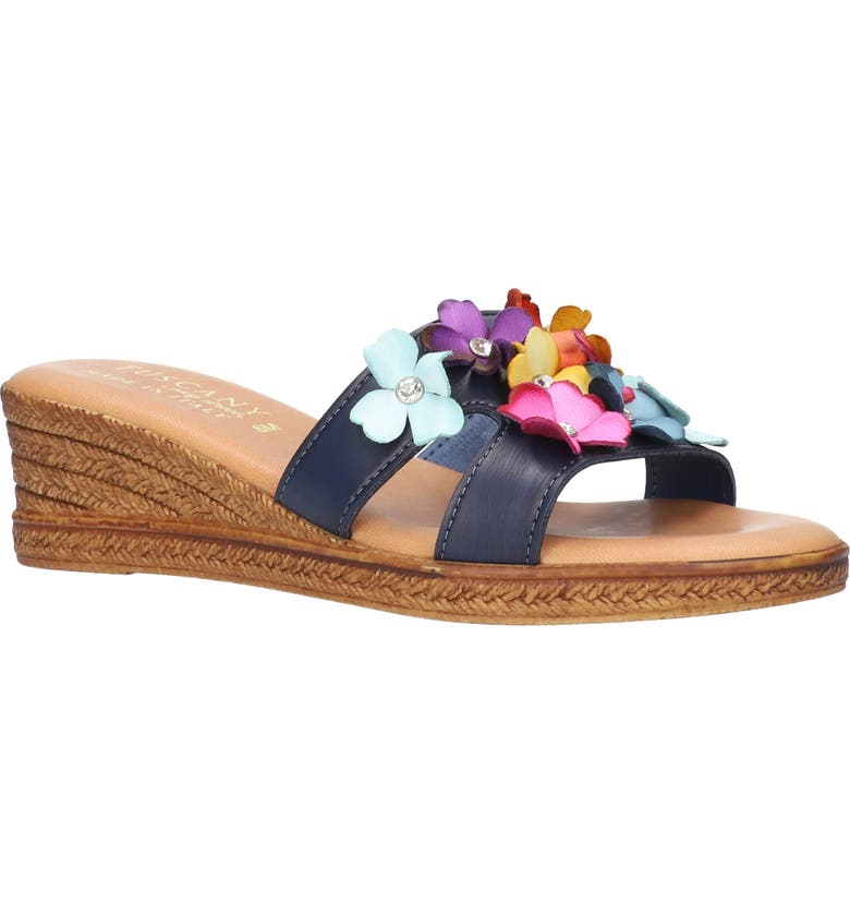 TUSCANY BY EASY STREET<SUP>®</SUP> Lilla Wedge Slide Sandal, Main, color, NAVY / MULTI FLOWERS