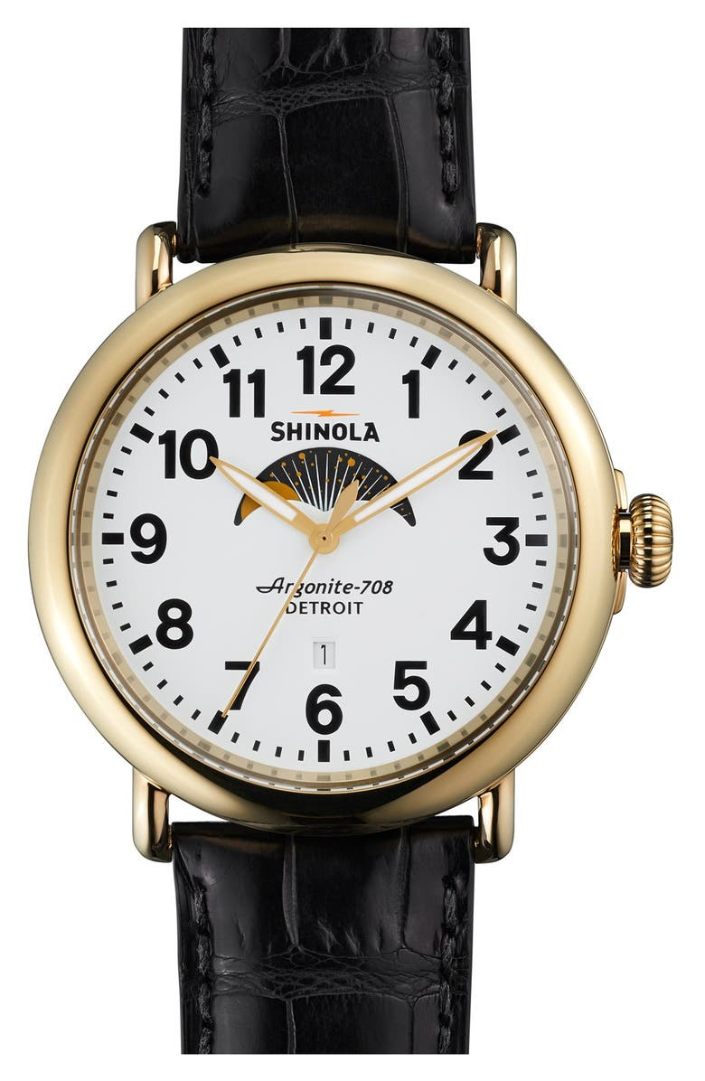 SHINOLA 'The Runwell' Moon Phase Leather Strap Watch, 47mm, Main, color, 001