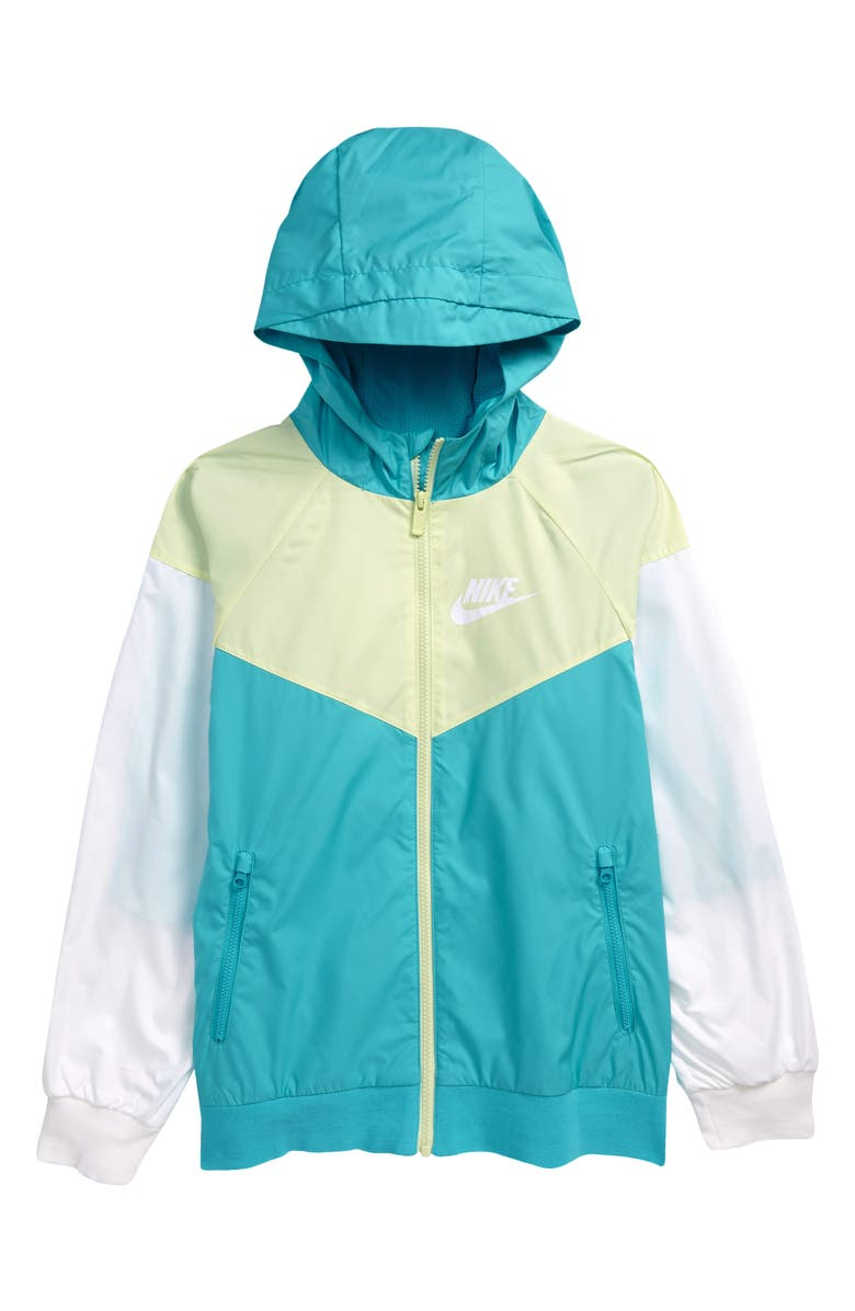 NIKE Windrunner Water Resistant Hooded Jacket, Main, color, CHLBLU/WHITE