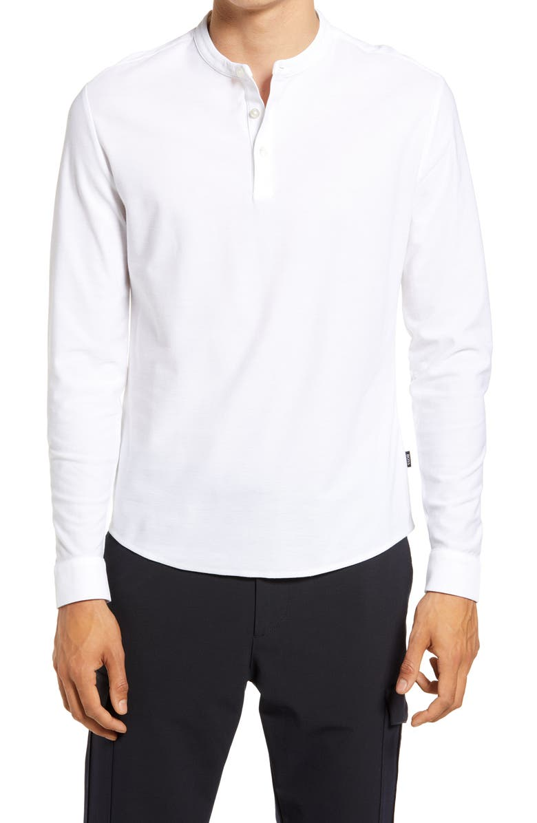BOSS Pal Slim Fit Long Sleeve Henley, Main, color, WHITE