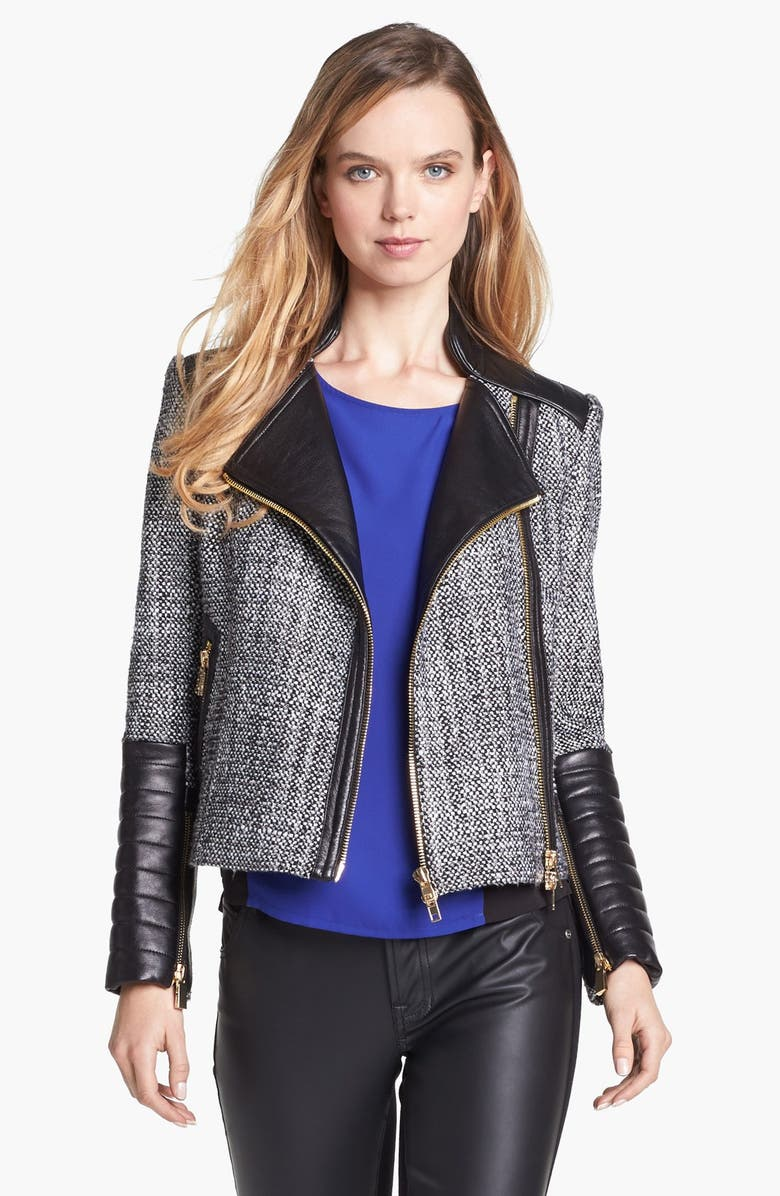 VINCE CAMUTO Tweed & Faux Leather Moto Jacket, Main, color, 001