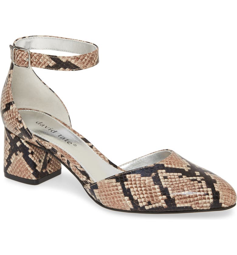 DAVID TATE Adeline Leather Ankle Strap Pump - Multiple Widths Available, Main, color, CAMEL SNAKE PRINT LEATHER