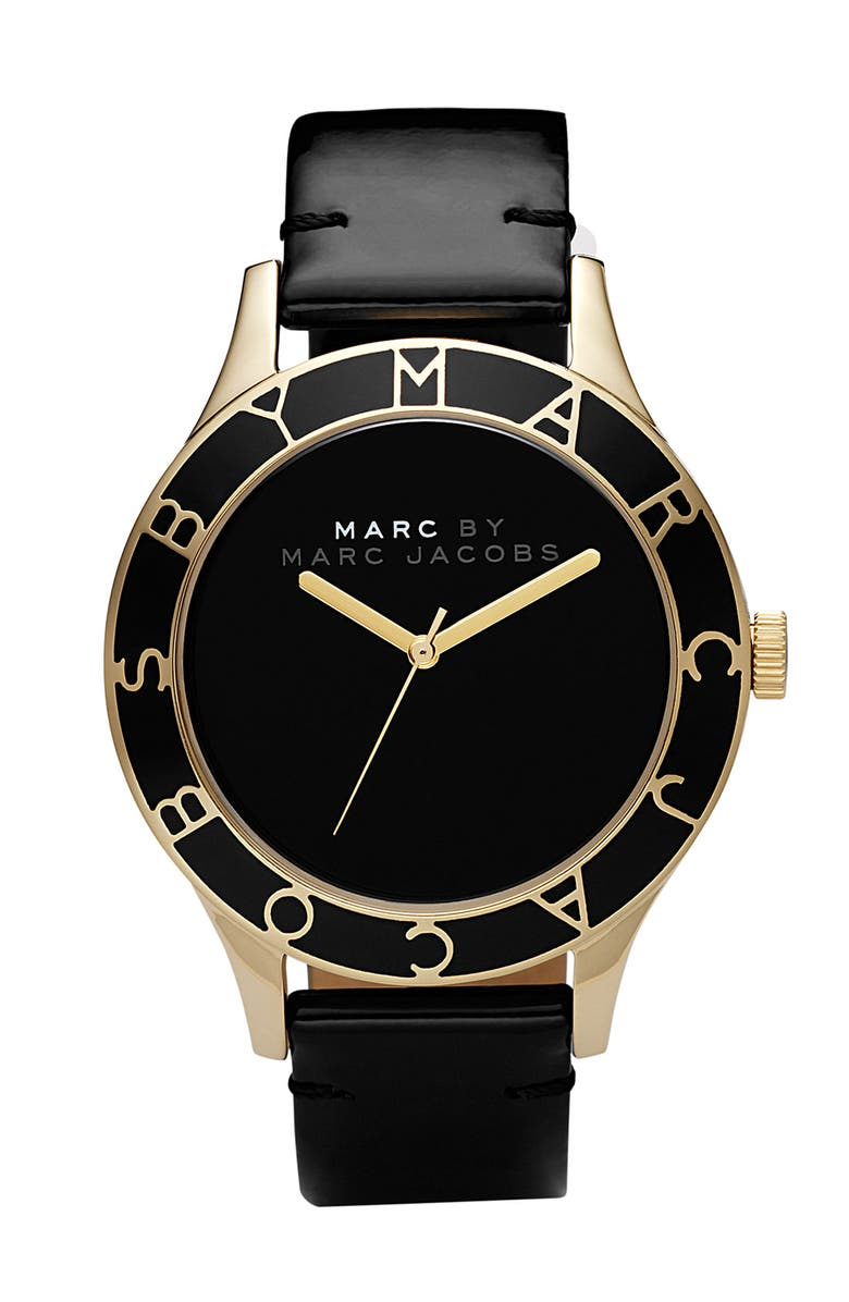 MARC BY MARC JACOBS Patent Strap Oversized Watch, Main, color, 001