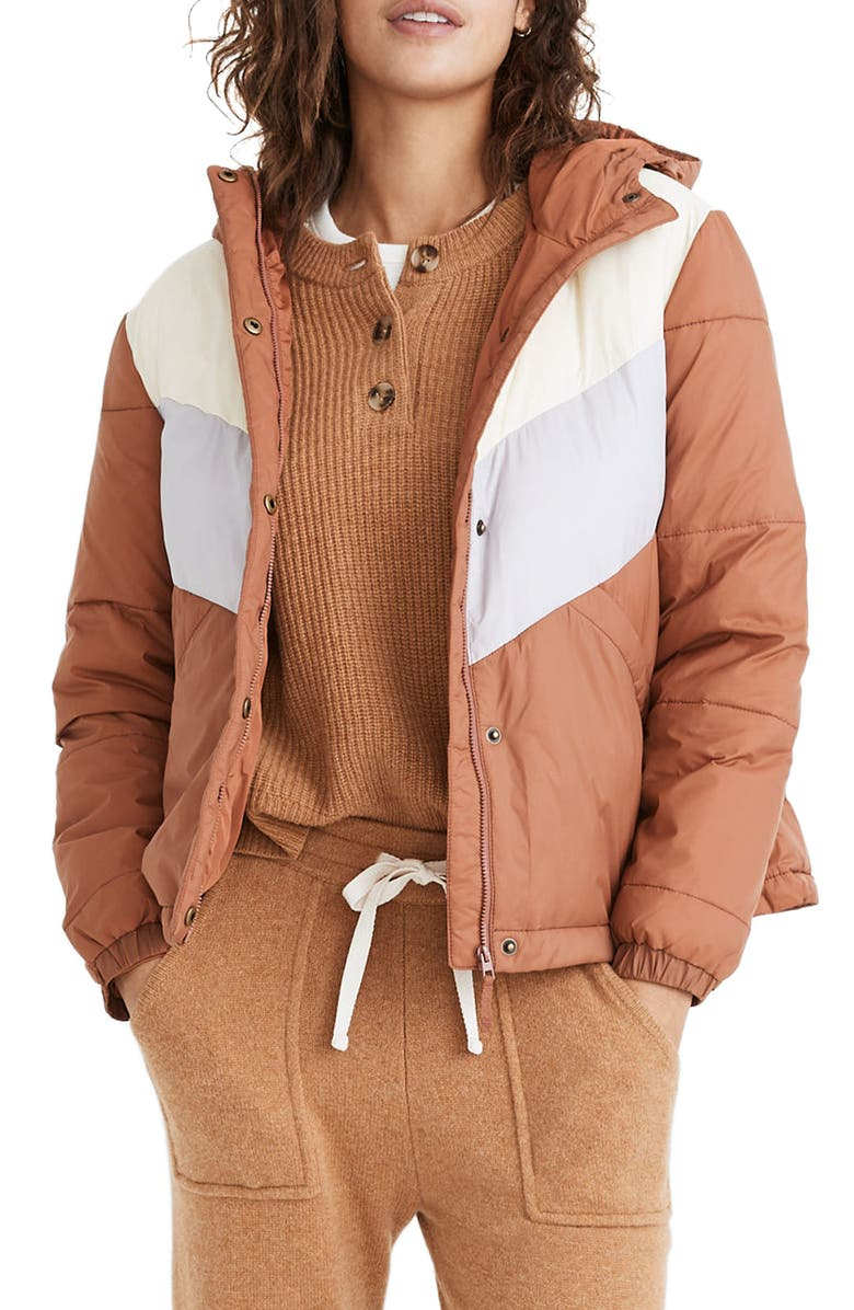 MADEWELL Chevron Colorblock Packable Puffer Jacket, Main, color, UMBER