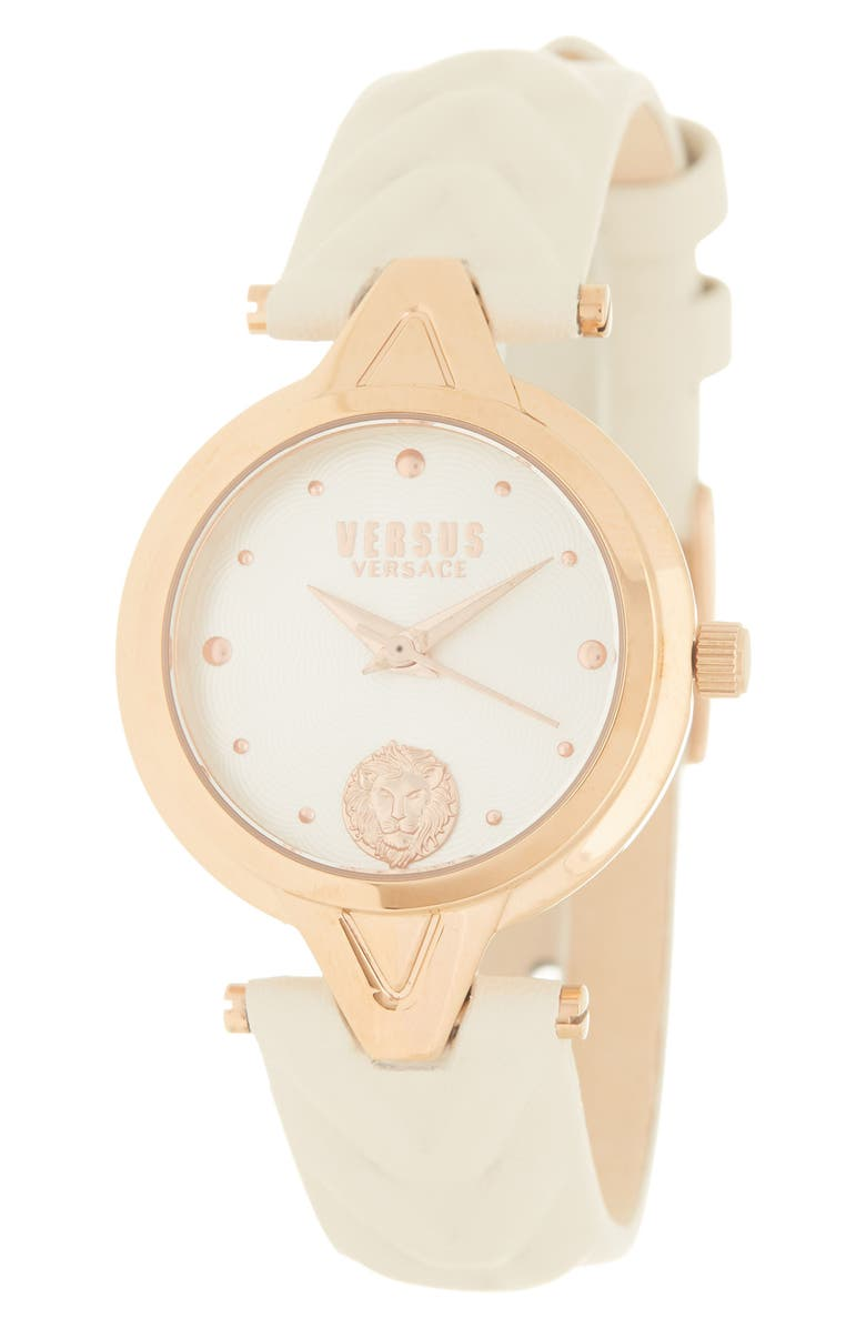 VERSUS VERSACE Women's Leather Strap Watch, 30mm, Main, color, IP ROSE GOLD
