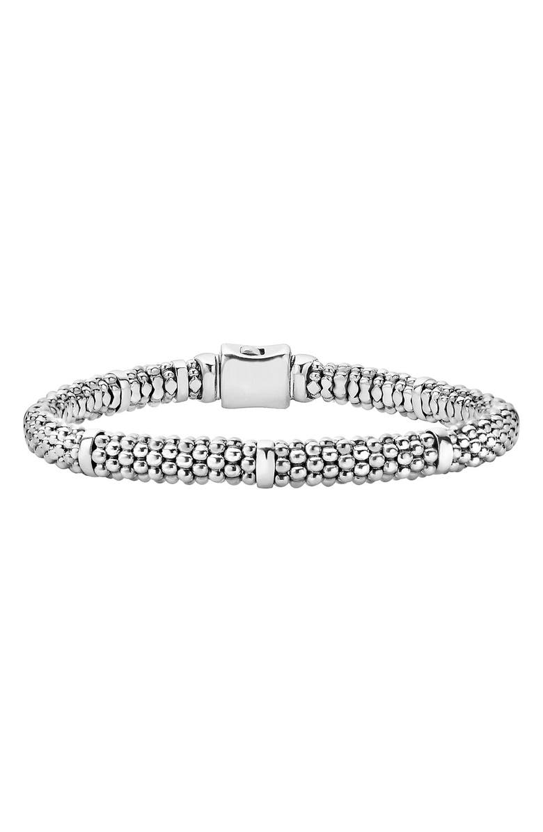 LAGOS Caviar Rope Station Bracelet, Main, color, STERLING SILVER